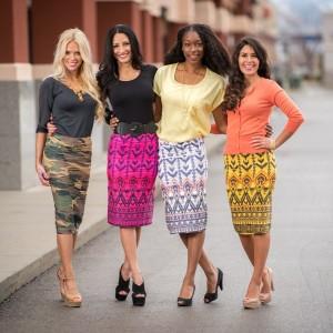 scrunchy print skirts