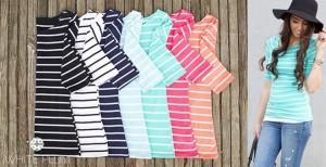 striped tees 3.4 sleeve