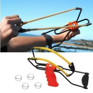 FREE - Large Adjustable Slingshot w Arm Brace - Includes 4 Glass Balls