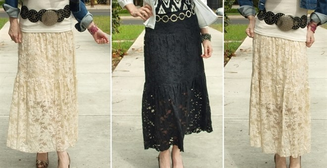 Long Lace Tiered Skirt