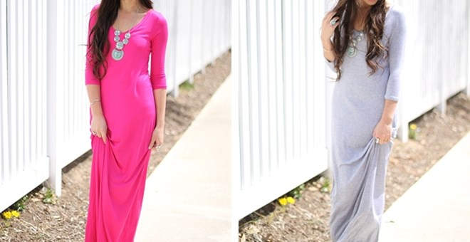 Quarter sleeve maxi dress