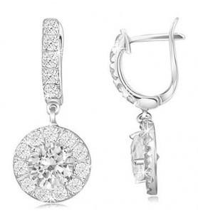 White Topaz Sterling Silver Dangle Earrings