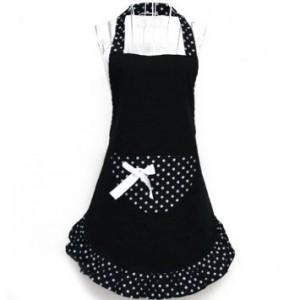black and white apron