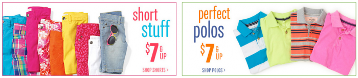 childrens place shorts and polos