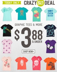 crazy 8 3.88 and under sale 239x300 *HOT* Crazy 8 $3.88 & Under Sale! *Today Only* ...Plus Minecraft Tees for $14.88!