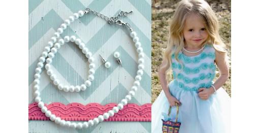 little girl pearl jewelry set