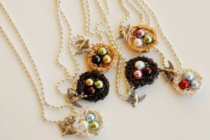 mama bird and nest necklaces