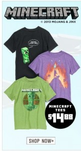 minecraft tees 161x300 *HOT* Crazy 8 $3.88 & Under Sale! *Today Only* ...Plus Minecraft Tees for $14.88!
