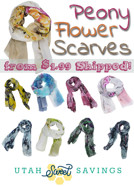 peony flower scarves Super Soft Peony Flower Scarves for $1.99!