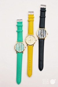 stripe face leather watch