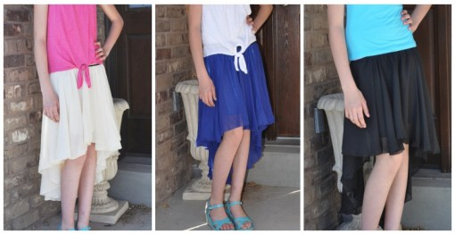 tween or teen high low skirts