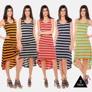 3-Pack Striped High Low Dress