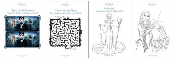 8 FREE Maleficent Activity Sheets