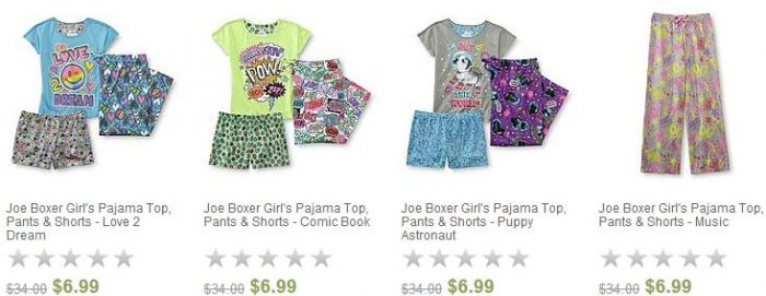 joe boxer girls 3-piece pajama sets