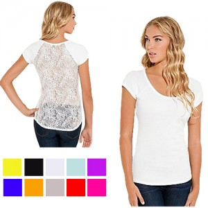 5 Pack Scoop Neck Back Lace Floral Top in 4 Sizes