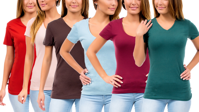 6-Pack Tex V-Neck Tee Shirts for Ladies in Assorted Colors