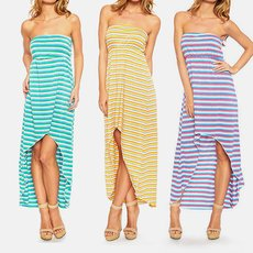 High-Low Striped Maxi-Dress