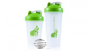 Set of Two HUTT BPA-Free Blender Shaker Bottle w Stainless Steel Whisk Ball