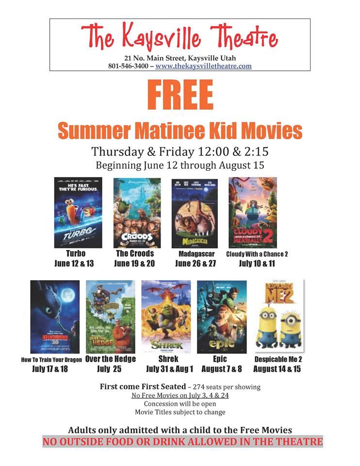 free summer matinee kid movies at the kaysville theatre