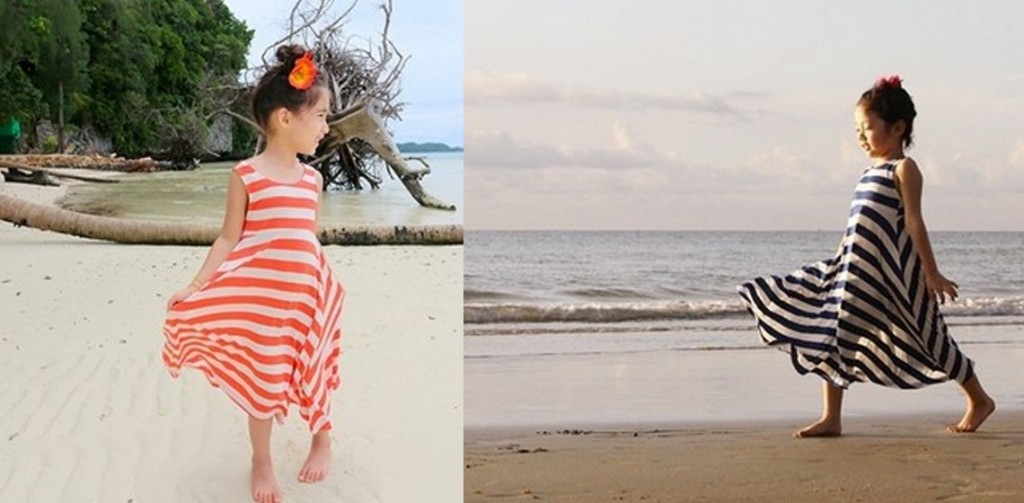 girls striped maxi dresses