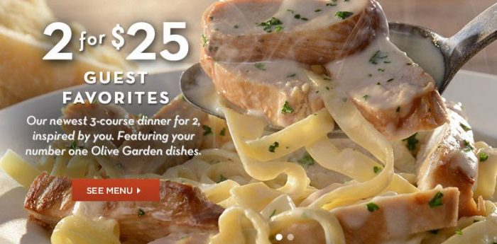 Olive Garden TWO 3Course Dinners for 25 Utah Sweet Savings
