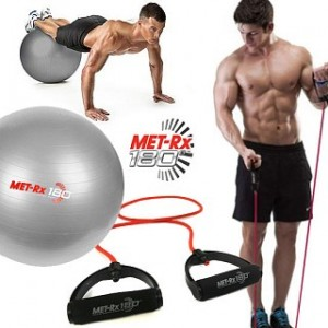 2 fitness balls and 2 resistance bands
