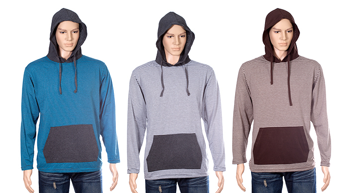 Galaxy by Harvic Pullover Fine Stripe Hoodie for Men