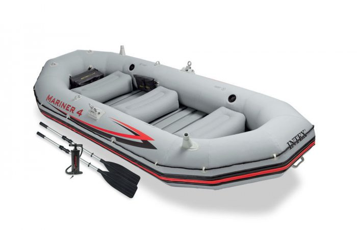 Intex Mariner 4 Inflatable Raft River Lake Dinghy Boat & Oars Set