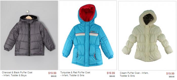 zulily puffer coats