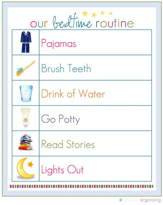 Bedtime Routine chart from Apartment Therapy