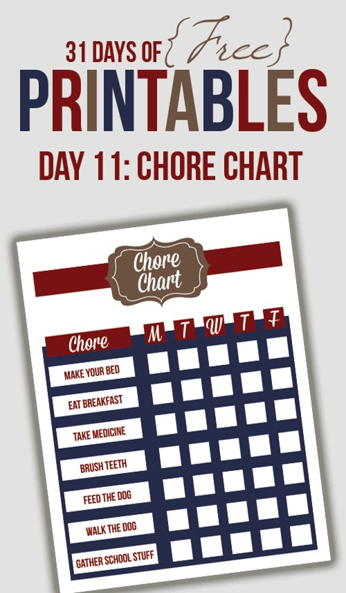 printable chore chart from I heart planners