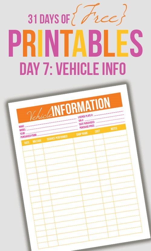 Vehicle info printable from I heart planners