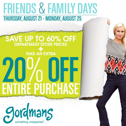 Gordmans Friends and Family 20% Off Friends & Family Coupon at Gordmans!  Donate to Helping Hands!