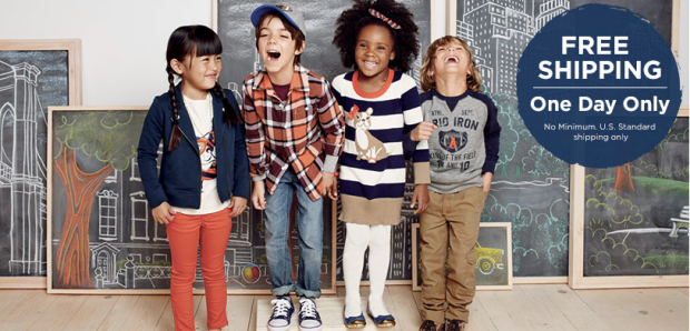 Gymboree free shipping Gymboree:  Free Shipping! No Minimum!  Today Only