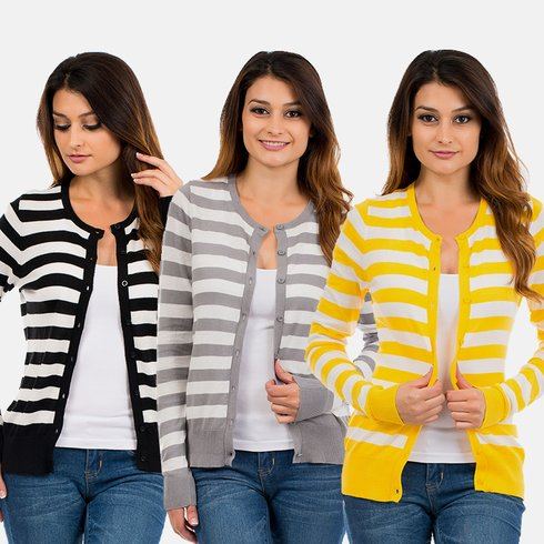 Stripe Cardigan Stripe Button Down Cardigans $9.99 (Reg $39.99)