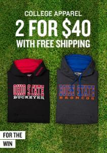 college apparel 2 for $40 finishline