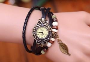 leather wrap vintage wrist watch with leaf