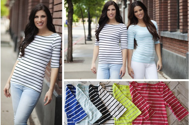 nautical stripe boat neck tees
