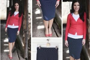 navy polka dot pencil skirt