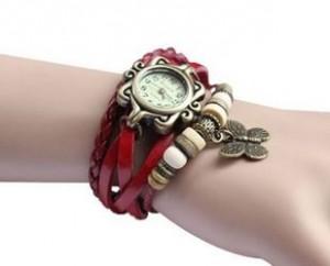 red leather wrap bracelet watch