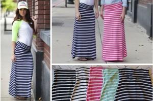 striped jersey maxi skirts