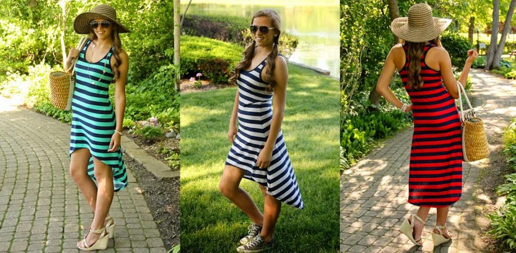 striped tank hi-lo dress