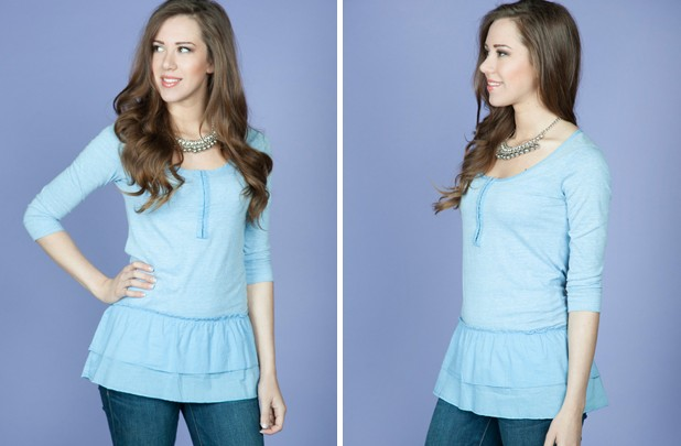 Cheyenne Ruffle Henley Extra 15% off at GroopDealz!  Leggings $4.24, Tall Boots $25.49, Ruffle Top $5.94, MORE  *Hot Deals*