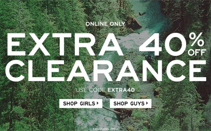 Extra 40 Clearance Aeropostale: Extra 40% off Clearance!  Clothes Starting at $2.40!
