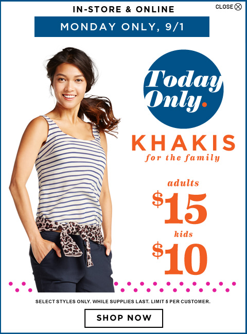 Khakis Old Navy Old Navy: 50% off + 20% off! Tops as low as $2.00, Dresses $6.38, Shorts $7 and MORE!
