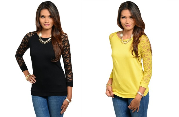 Lace Accent Top Extra 15% off at GroopDealz!  Leggings $4.24, Tall Boots $25.49, Ruffle Top $5.94, MORE  *Hot Deals*