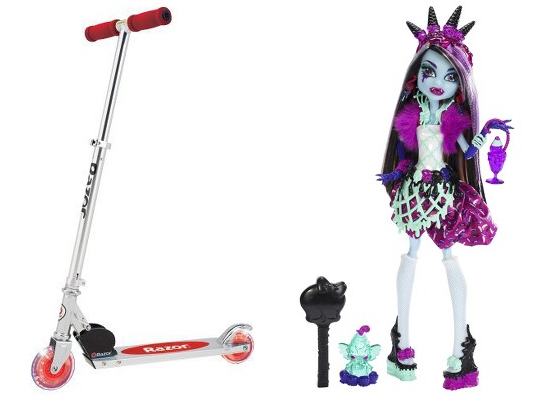 Monster High Sweet Screams Abbey Bominable Doll and Razor A Lighted Wheel Kick Scooter - Red