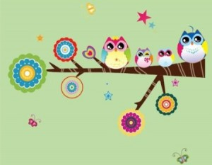 Owl Nursery Sticker Wall Decal