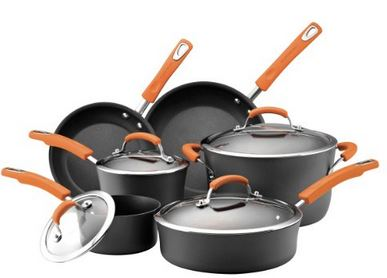 Rachael Ray Hard Anodized II Nonstick Dishwasher Safe 10 Piece Cookware Set Orange *TODAY ONLY* Rachael Ray Hard Anodized 10 Piece Cookware Set for $99.99 (Reg $255)!