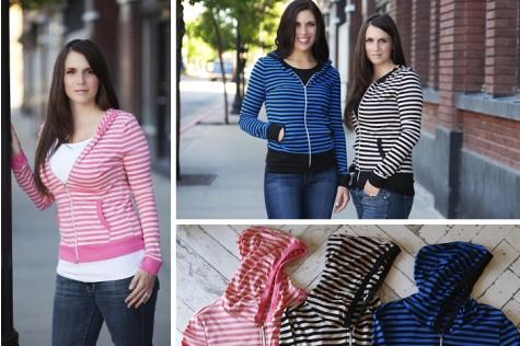 Stripe Zip Hoodies